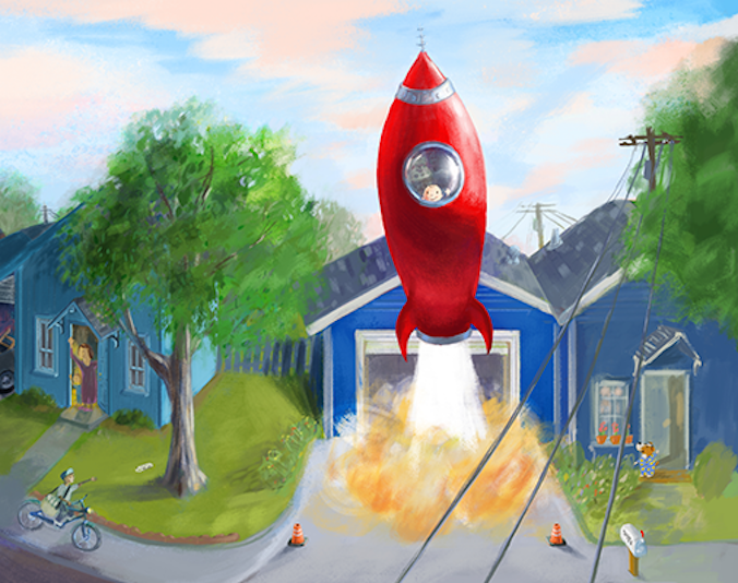 Red Rocket Ship Astronaut