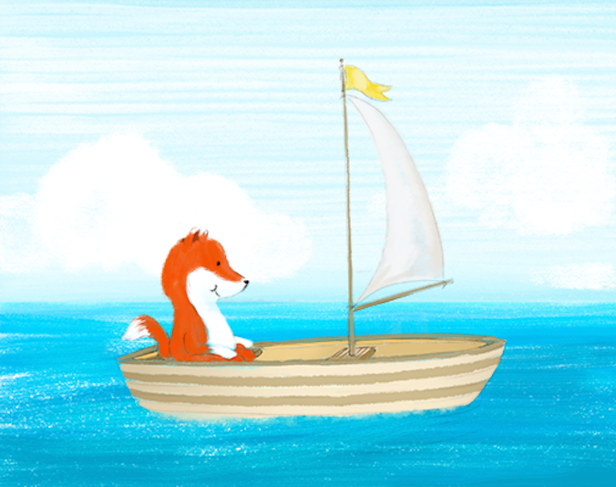 Fox sailing a boat